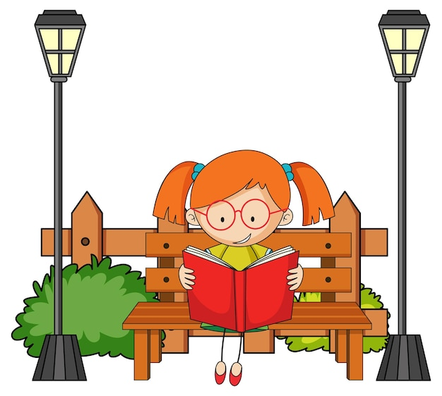 Schattig meisje lezen boek doodle stripfiguur met park elementen