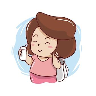Schattig meisje met boodschappentas