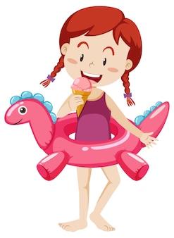 Schattig meisje met dinosaurus zwemmen ring geïsoleerd