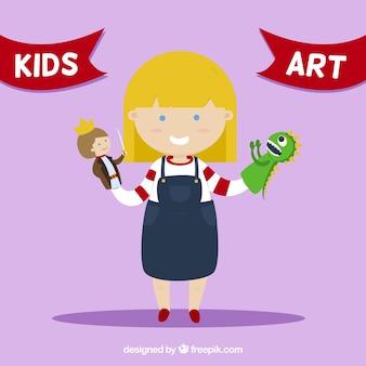 Schattig meisje met een marionetten