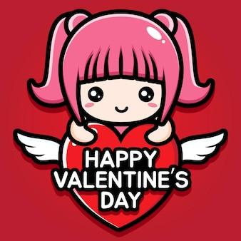 Schattig meisje met gelukkige valentijnsdag groet