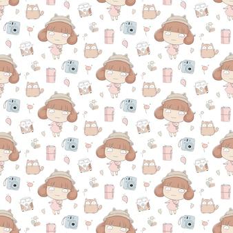 Schattig meisje met kat naadloos patroon