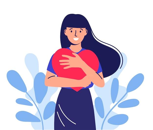 Schattig meisje met lang haar zelfzorg hou van jezelf gelukkige vrouw knuffelt een hart vrouwendag