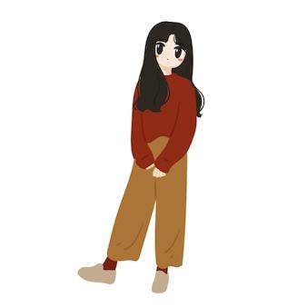 Schattig meisje met lang haar