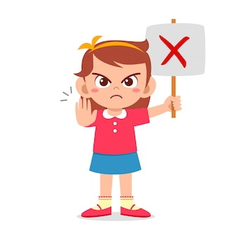 Schattig meisje met verkeerd teken