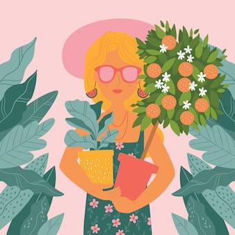 Schattig meisje met verschillende huisplanten in haar handen plant lady illustratie illustratie van schattig meisje met planten