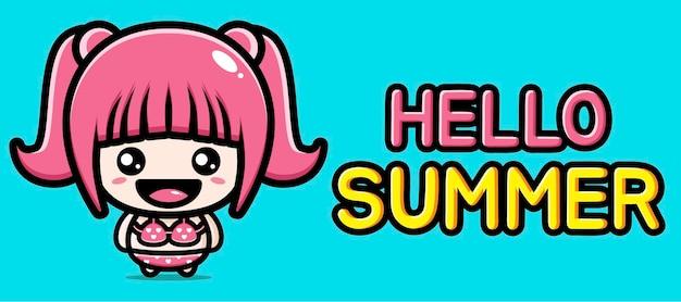 Schattig meisje met zomer groet banner