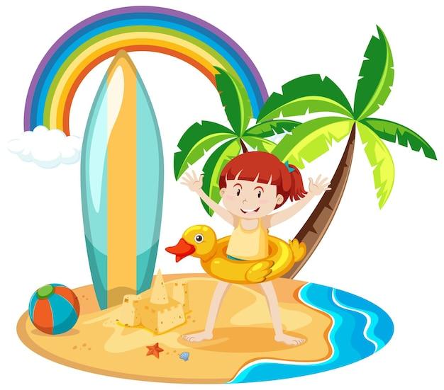 Schattig meisje met zomer strand pictogrammen geïsoleerd