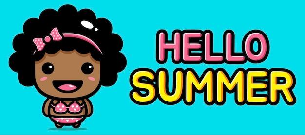 Schattig meisje met zomergroetbanner