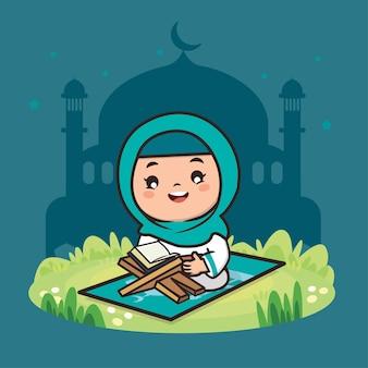 Schattig meisje moslim ramadan cartoon karakter illustratie
