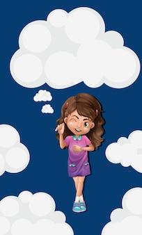 Schattig meisje op blauwe lucht