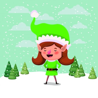 Schattig meisje santa helper in de snowscape