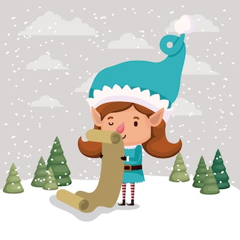 Schattig meisje santa helper met geschenken lijst