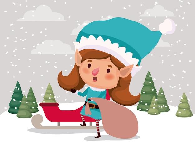 Schattig meisje santa helper met geschenken zak en slee