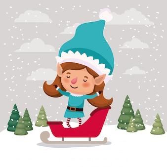 Schattig meisje santa helper met slee