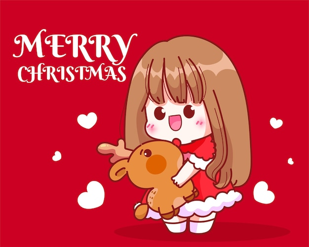 Schattig meisje santa knuffel een rendier pop op kerst vakantie viering hand getekende cartoon kunst illustratie