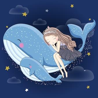 Schattig meisje slaapt op de walvis