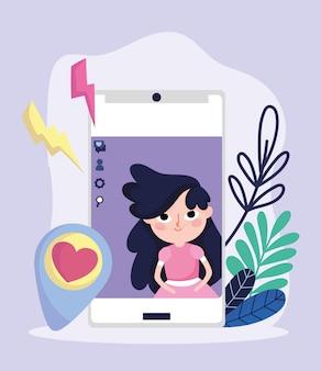 Schattig meisje smartphone tekstballon liefde sociale media