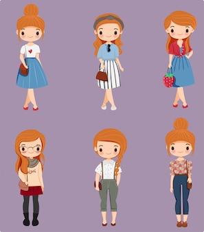 Schattig meisje stripfiguur met verschillende mode-stijl