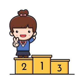 Schattig meisje student permanent op podium rang twee cartoon pictogram vectorillustratie. ontwerp geïsoleerd op witte platte cartoon stijl.