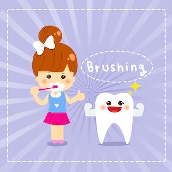 Schattig meisje tandenpoetsen, tandheelkundige jongen hand getrokken