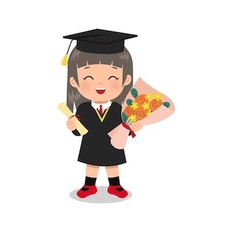 Schattig meisje viert afstuderen met diploma certificaat en boeket bloemen platte vector cartoon