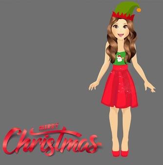 Schattig meisje vrolijk kerstfeest