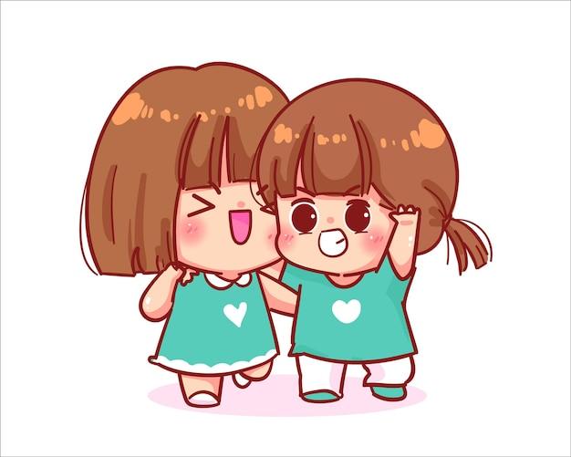 Schattig meisje wandelen met vriend cartoon kunst illustratie