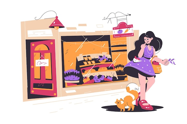 Schattig meisje winkelen in kleine straat winkel vectorillustratie