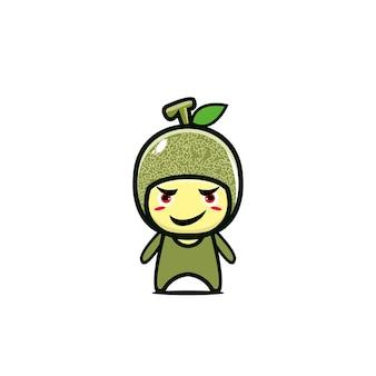 Schattig meloen fruit stripfiguur eenvoudig vlakke stijl stripfiguur illustratie ontwerp