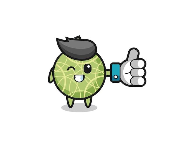 Schattig meloenfruit met sociale media duimen omhoog symbool, schattig stijlontwerp voor t-shirt, sticker, logo-element