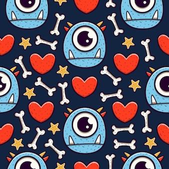 Schattig monster cartoon doodle naadloze patroon ontwerp