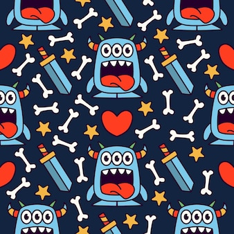 Schattig monster cartoon doodle naadloze patroon ontwerp
