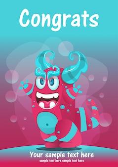 Schattig monster congrats wenskaart