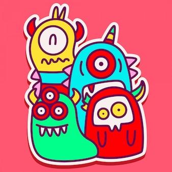 Schattig monster doodle sticker ontwerp
