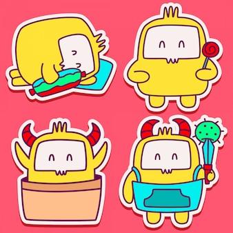 Schattig monster karakter doodle ontwerpsjabloon