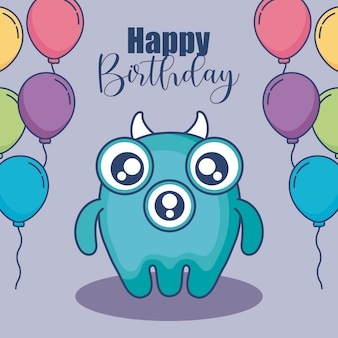 Schattig monster met ballonnen helium verjaardagskaart