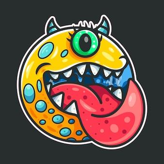 Schattig monster voor pictogram logo sticker en illustratie