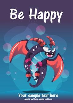 Schattig monster worden gelukkig wenskaart