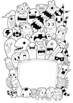 Schattig monsters doodle