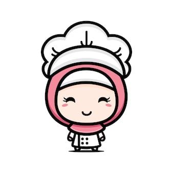 Schattig moslim chef-kok character design Premium Vector