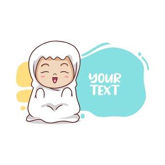 Schattig moslimmeisje bidt met ballontekst