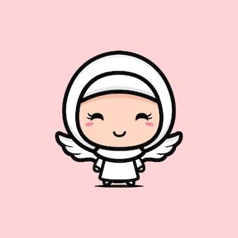 Schattig moslimmeisje met vleugels als een engel