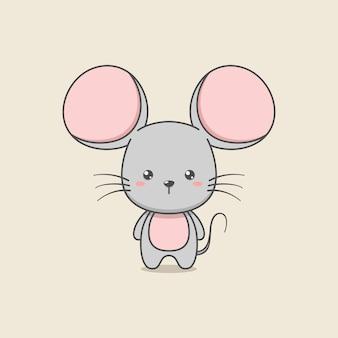Schattig muis stripfiguur