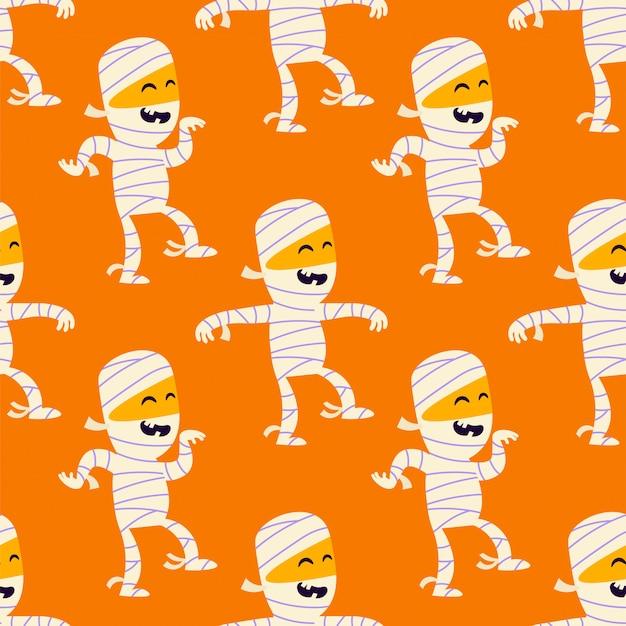 Schattig mummie naadloos patroon. grappig halloween