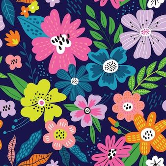 Schattig naadloos patroon met bloemen en bladeren perfect voor het inpakken van papiertextuurbehang Premium Vector
