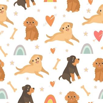 Schattig naadloos patroon met honden en regenboog