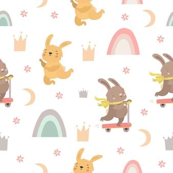Schattig naadloos patroon met konijntjes