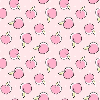 Schattig naadloos patroon met perziken op een roze achtergrond met stippen