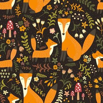 Schattig naadloos patroon met schattige vossen - moedervos en haar baby
